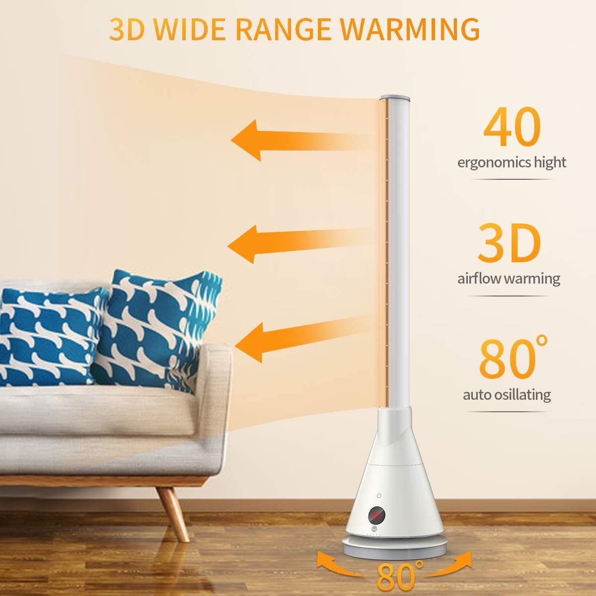 U ULTTY Bladeless Cool Warm Tower Fan